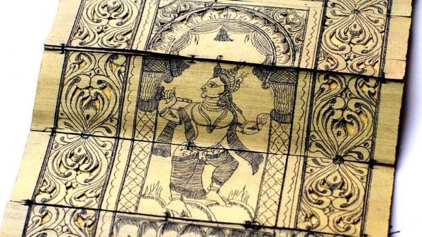 Миниатюры на пальмовых листьях. Танцующий Кришна (c)inditrip.net
