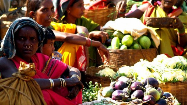 Koina ladies trade vegetables at Koraput daily haat.