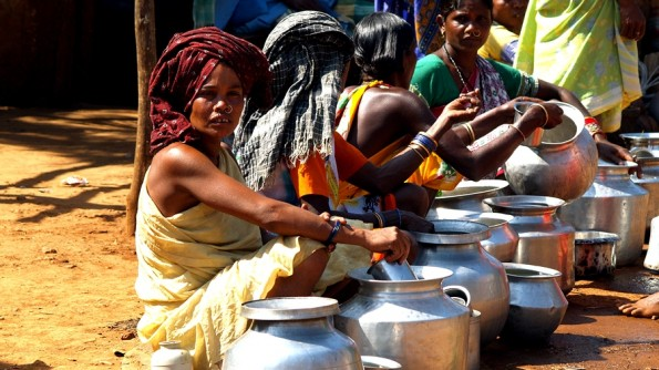 Ladies of kondh tribe traid palm wine at Onkadeli (Ankudeli) adivasi market