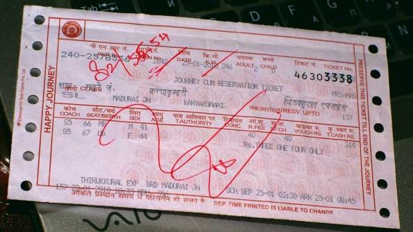 Индийский железнодорожный билет. Слиппер. (c)inditrip.net