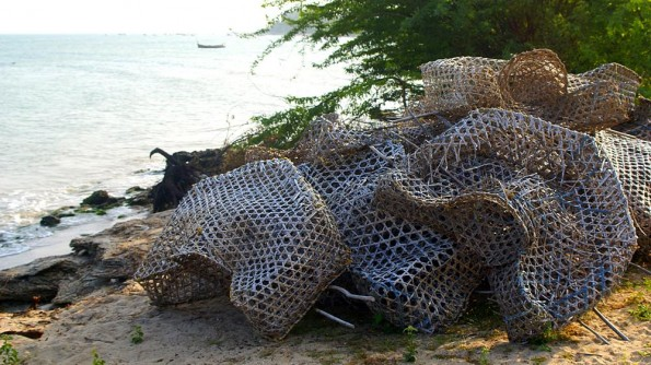 Lobster nets in fisher's village in Ramrswaram.  (c) inditrip.net