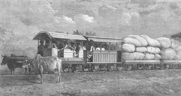 Chai tramway in Kundala valley in Kerala. From The illustrated London News, 1853 | Чайный поезд в Керале