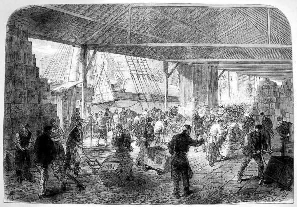 Uploading tea ship in India. The Illustrated London News, 1878 | Загрузка чайного корабля в индийском порту